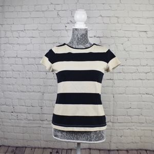 Loft Black and Cream Top 100% cotton SZ SP